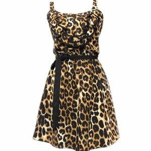 EXPRESS animal print Midi Dress Medium Black Gold